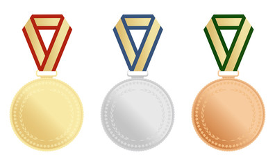 Set of gold, silver and bronze award medals on white background. Vector illustration.