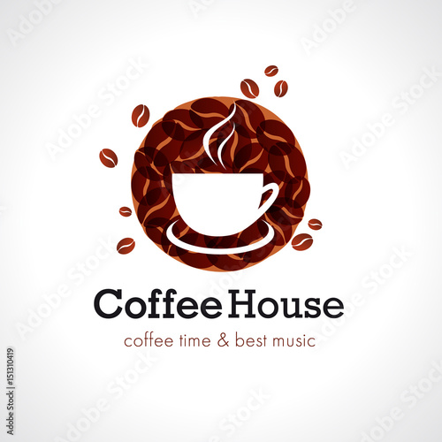 Coffee house cafe logo vector design brand sign for for Best house songs of all time