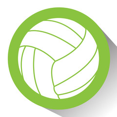 Isolated volleyball ball on a colored button, Vector illustration