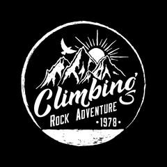 Mountain Climbing Hand Drawn Emblem.