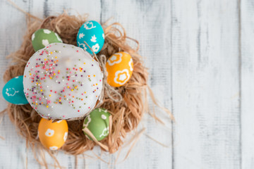Easter cake with colored eggs