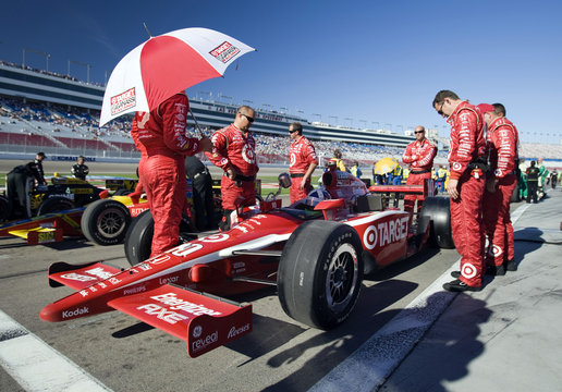IndyCar drivers line up for tribute laps to honor British driver Wheldon at the Las Vegas Motor Speedway