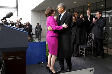 Obama embraces Kennedy as she introduced him to make remarks at the dedication ceremony for the Edward M. Kennedy Institute for the United States Senate, in Boston