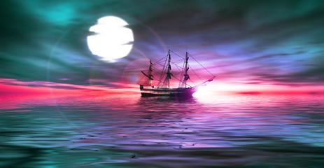 Sailboat during sunrise.