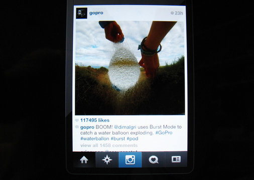 """Instagram """"Likes"""" are shown displayed on an Apple ipad in Encinitas"""