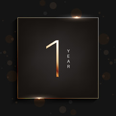 1 year anniversary gold logo on dark background. Vector illustration.
