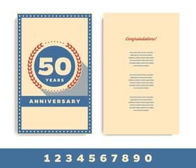 Anniversary 5th, 10th, 15th, 20th, 25th, 30th, 40th, 50th, 60th invitation/congratulation card. Vector illustration.