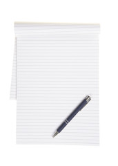 Empty office or school notebook with lines and a blue pen isolated on a white background