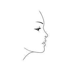 Woman's face. Beautiful female face silhouette in profile.