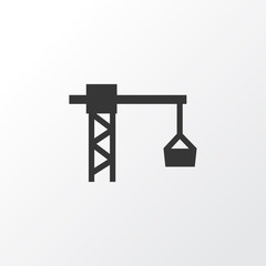 Tower Crane Icon Symbol. Premium Quality Isolated Lifting Hook Element In Trendy Style.