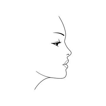 Woman's face. Beautiful female face silhouette in profile.