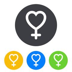 Icono plano corazon simbolo femenino en circulo varios colores