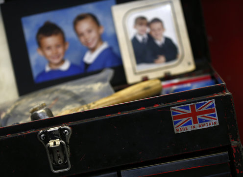 """A """"made in Britain"""" sticker is seen on a tool box at Sigma UK in Hinckley"""