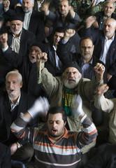 Worshippers shout anti-U.S. and anti-Israel slogans during Friday prayers at Tehran University in Tehran