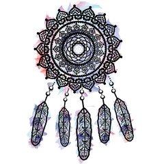 2f9bee36328d5 Dream catcher graphic in on watercolor background with mandala lace tattoo  style decorated with feather,