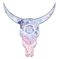 Mandala animal skull in watercolors  inspired by hand drawn art and native American people