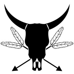 Plain wild animal skull in black and white with crossing arrows with feathers inspired by hand drawn art and native American people