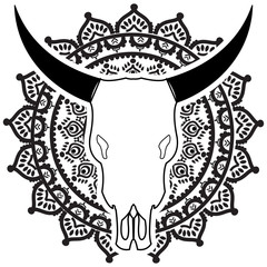 Wild animal skull in black and white with swirly  elements inspired by hand drawn art and  native American people  tattoos and art on mandala style  background
