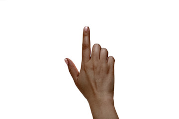 African female index finger on a white background.
