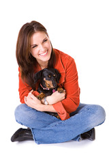 Pets: Woman Holds Pet Dachshund In Lap