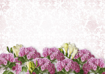 Vintage white background with branches of spring flowers