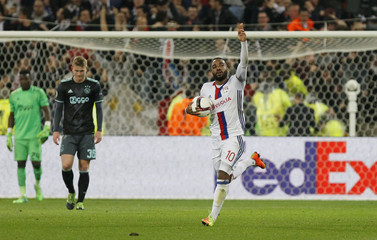 Lyon's Alexandre Lacazette celebrates scoring