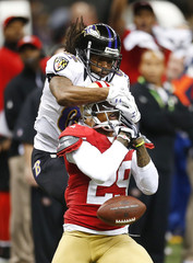 49ers defensive back Culliver breaks up a pass intended for Ravens Smith during the NFL Super Bowl XLVII football game in New Orleans