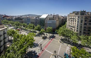 Famous street of Passeig de Gracia in Barcelona, Spain