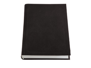 Closed beautiful isolated thick book with a black cover on a white background