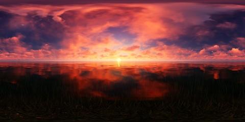 dark red sunset in the ocean skybox
