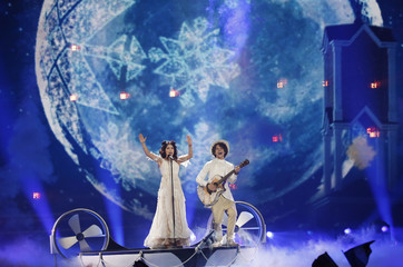 """Belarus's Naviband performs the song """"Story of My Life"""" during the Eurovision Song Contest 2017 Semi-Final 2 at the International Exhibition Centre in Kiev"""