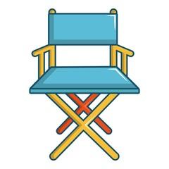 Cinema director chair icon, cartoon style