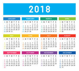 Calendar 2018. Colorful calendar vector design and template. Isolated background.