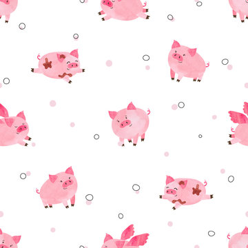 Seamless cute pigs pattern for kids design. Vector watercolor cartoon piggy background.