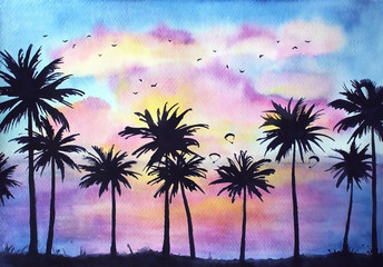 Watercolor dramatic tropical sunset landscape, vivid tropical background