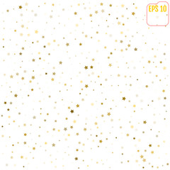 Random falling gold stars on white background. Glitter pattern for banner, greeting card, Christmas and New Year card, invitation, postcard, paper packaging. Vector illustration