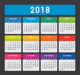 Calendar 2018. Calendar vector design and template on dark background. Isolated background.