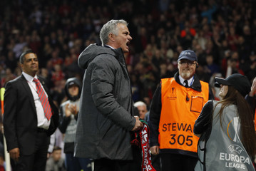Manchester United manager Jose Mourinho celebrates after the match
