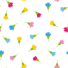 Papiers peints Animaux geometriques Floral spring colorful blossoms on white background romantic wedding concept seamless pattern