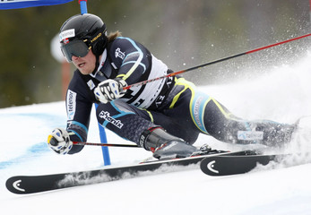 Kjetil Jansrud of Norway skis to the second best time in the first heat of the men's World Cup giant slalom in Beaver Creek