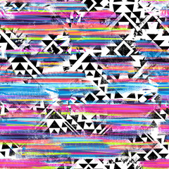 Cool Aztec design over painted stripes - seamless background