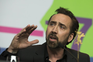 "Cage, voice of character Grug, speaks during news conference promoting animation movie ""The Croods"" at Berlinale International Film Festival in Berlin"