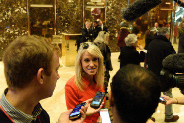 Kellyanne Conway, campaign manager and senior advisor to the Trump Presidential Transition Team, speaks to the press at Trump Tower
