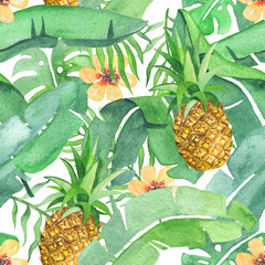 Tropical leaves and pineapple saemless pattern