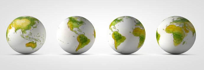 Planeta tierra, Bola del mundo desde diferentes vistas