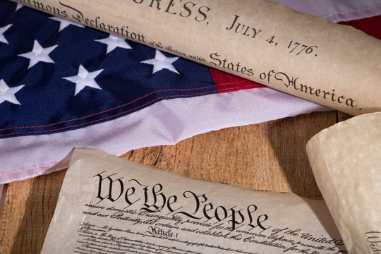 Historical United States Documents With The American Flag