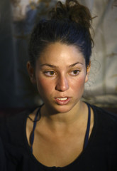 Israeli trekker Maya Ora, who was rescued from an avalanche by the Nepalese army, speaks with the media at the Army Hospital where she is undergoing treatment in Kathmandu