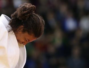 Brazil's Rafaela Silva cries after losing to Hungary's Hedvig Karakas in women's -57kg elimination judo match at London 2012 Olympic Games