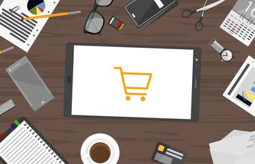 Einkaufswagen - Schreibtisch mit Tablett