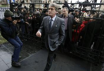 Former Ukraine President Yushchenko arrives at the state prosecutor's office in Kiev
